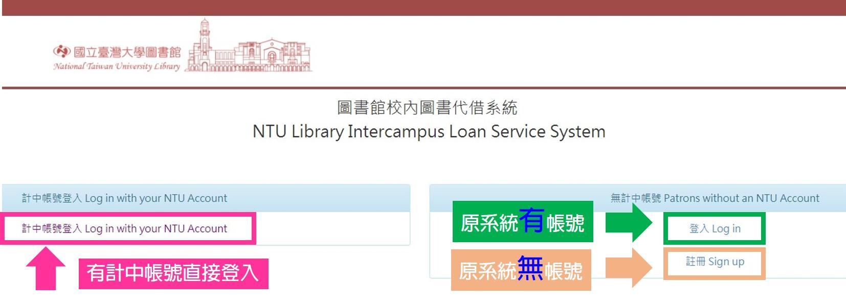 圖書館校內圖書代借系統登入畫面