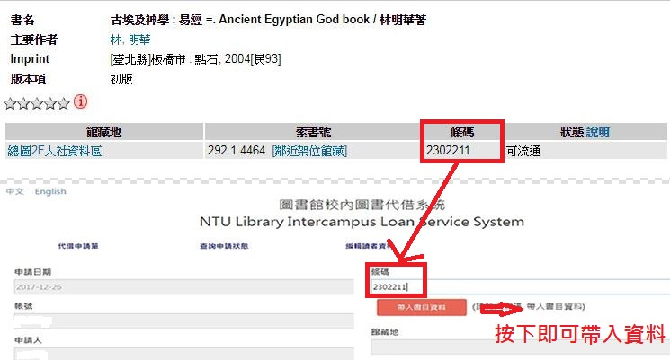 在系統中填入所要借閱的書籍「條碼」,系統立即自動匯入相關書目資料。