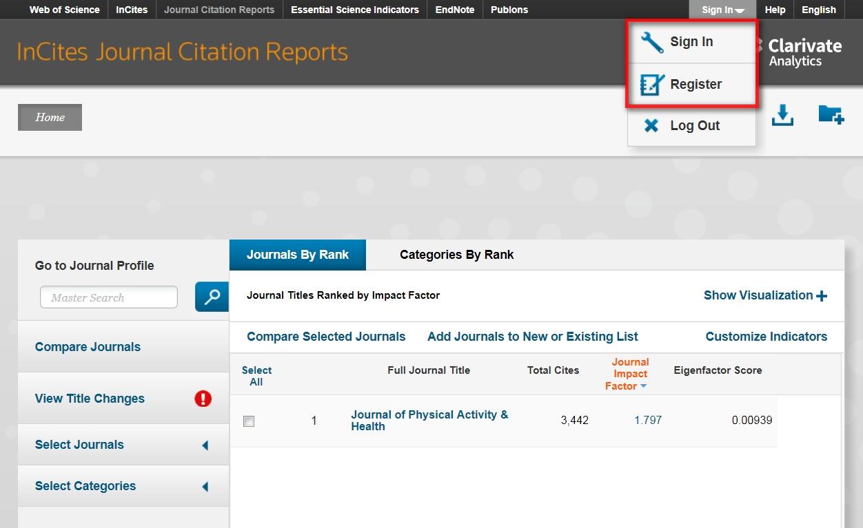 在JCR主頁面即顯示 5 Year Impact Factor、Immediacy Index等指標,必須先在臺大校區(院區)網域內註冊一組個人帳號