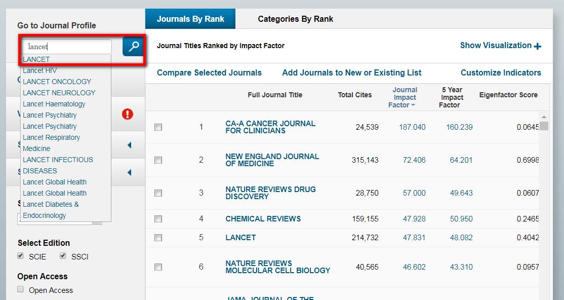 勾選5 Year IF指標的步驟後,在左上角Go To Journal Profile檢索框輸入期刊刊名,例如:輸入刊名Lancet作查詢