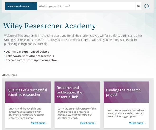 Wiley Researcher Academy 學術研究線上課程