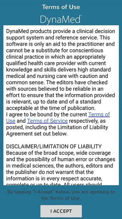 DynaMed App同意條款