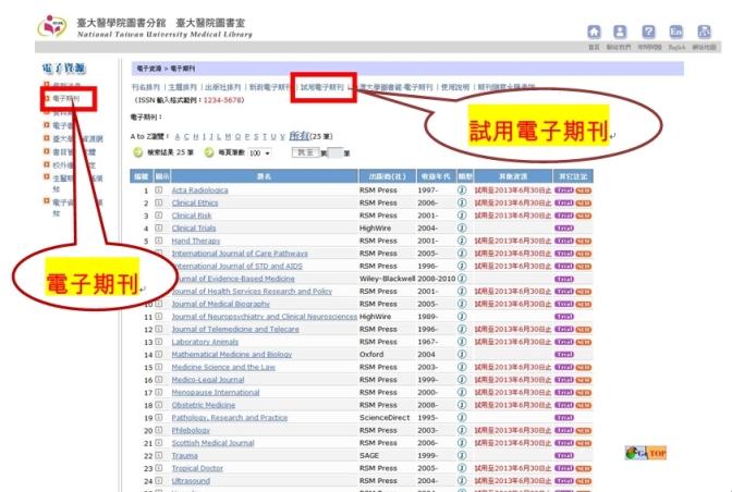 醫圖試用電子期刊網頁